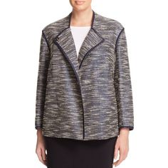 Lafayette 148 New York Plus Dane Faux Leather Trimmed Coated Tweed... (450 CAD) ❤ liked on Polyvore featuring plus size women's fashion, plus size clothing, plus size outerwear, plus size jackets, ink multi, urban jackets, tweed jacket, layered jacket and lafayette 148 new york