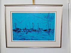 1978 Vtg Pascal Cucaro Signed Numbered Lithograph Masts in Blue Sausalito Ocean #Impressionism