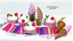 "Ice Cream Cones & Frozen Yogurt Set for 18"" Dolls American Girl Food Accessories #Sophias"