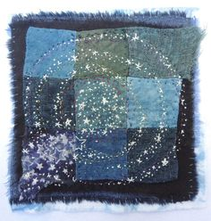 Image of Where the stars fly wild with the rainbow Sashiko Embroidery, Japanese Embroidery, Hand Embroidery Patterns, Embroidery Applique, Embroidery Stitches, Art Patterns, Flower Embroidery, Embroidered Flowers, Textiles