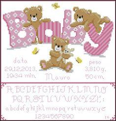 New baby cross stitch Baby Cross Stitch Patterns, Cross Stitch For Kids, Cross Stitch Baby, Cross Stitch Alphabet, Cross Stitch Kits, Cross Stitch Charts, Baby Patterns, Baby Embroidery, Cross Stitch Embroidery