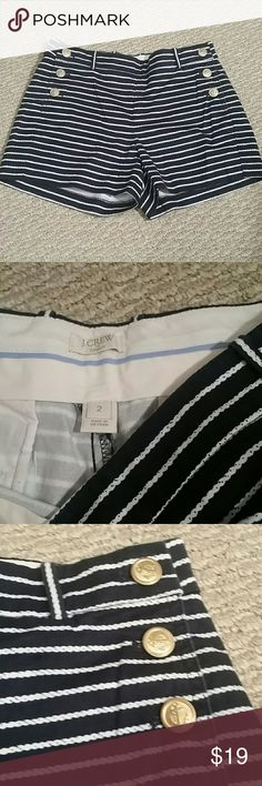 Like new J.CREW high waist short size 2 Like new Worn once Anchor stripe high waist short  So cute and well made  Fits small I'm size 27 on jeans Price is firm J.Crew Factory Shorts