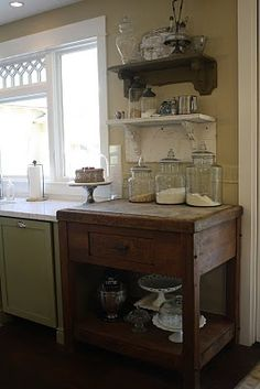 I love using free standing furniture in the kitchen for extra storage and counter space.