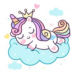 Cute Unicorn vector pony cartoon on cloud Princess: magic sleeping time for sweet dream Good night, Kawaii animal fairy character girly doodles. Perfect for invitations, children books, fashion, banners and greeting cards. Unicorn Painting, Unicorn Drawing, Unicorn Art, Cute Unicorn, Baby Unicorn, Unicorn Quotes, Cartoon Unicorn, Art Kawaii, Cute Kawaii Drawings