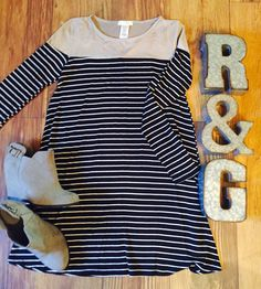 ❤️Adorable New Arrival❤️    The Gracie Dress 👗 by Revival & Grace Boutique    Such a convenient, lightweight comfy & adorabledress! The Gracie Dressin tanwith blackand white stripes. Pair it with tights or leggings to dress it up or down as you like! Great comfortable material!     Follow us on Instagram @revivalandgraceboutique    The material is Rayon 95%/Spandex 5% & (Top) Poly 90% / Spandex 10%.    Available Sizes:Small (0-4), Medium (5-8) , Large (9-12)    Colors: Tan/Black/White…