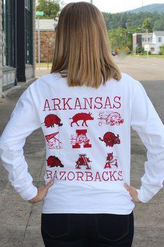 Arkansas Vintage Logos Tee {White} - The Fair Lady Boutique - 1