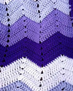 Picture of Purple Mountains Majesty Ripple Afghan Crochet Pattern Crochet Ripple Afghan, Easy Crochet Blanket, Crochet Afghans, Crocheted Blankets, Crochet Rugs, Free Crochet, Purple Mountain Majesty, Easy Crochet Projects, Crochet Ideas