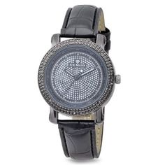 Womens Black Plated Round Shape Ice Maxx Techno Bling Big Face with Genuine Black Color Diamonds Fancy Watch (Includes 2 Extra Color Bands) ICE MAXX. $39.99