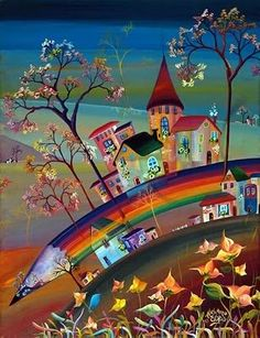 🌻 For more great pins go to Surrealism Painting, Naive Art, Whimsical Art, New Artists, Cute Art, Les Oeuvres, Art Lessons, Art Museum, Watercolor Art