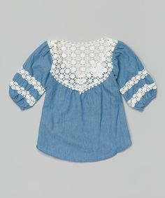 Blue Crocheted Collar Top - Toddler & Girls | zulily