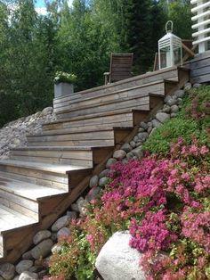 Hillside Landscaping, Landscape Curbing, Fairy Garden Pots, Dream Garden, Garden Swimming Pool, Sloped Yard, Terrace Garden, Garden Inspiration, Beautiful Gardens