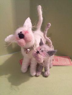 Moeder en Baby kat en Kitten Gevilte wol door WhimsicalWoolies