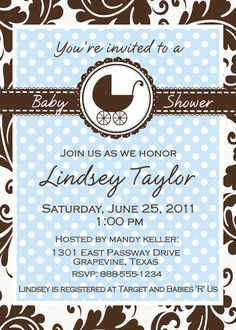 Custom Baby Shower Digital Invitation in classic Blue Brown and White with carriage Personalized for Boy or Girl YOU PRINT Invite