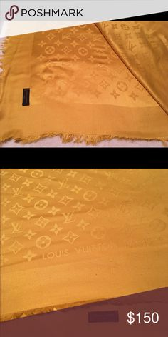 Louis Vuitton Wrap Authentic. Gold Multipurpose Wool Scarf/Wrap. Gently used Louis Vuitton Accessories Scarves & Wraps