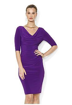 Lauren Ralph Lauren Cowl Neck Draped Matte Jersey Dress (sz 4)