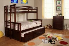 Pictures of  SOLID WOOD TWIN FULL BUNK BED WITH TWIN TRUNDLE