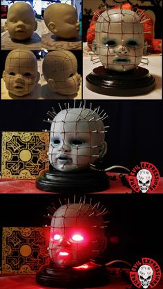 "Pinhead Doll Nightlight by Pure Evil Expressions"""" Pure Evil Expressions brings unique horror art and apparel to those who find the dark humor in all things that go bump in the night."" "" Please check out Richard Liebmann‎'s social media and Etsy. Soirée Halloween, Halloween Snacks, Outdoor Halloween, Halloween Projects, Diy Halloween Decorations, Halloween Cosplay, Holidays Halloween, Halloween Mesh Wreaths, Cosplay Diy"