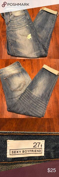 "GAP Sexy Distressed Boyfriend Jeans GAP Sexy Distressed Boyfriend Jeans w. Cuffed Ankles. Awesome Jeans, Super Comfortable & Go w. Everything. Inseam approx 26.25""-in. GAP Jeans Boyfriend"