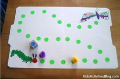 Caterpillar Game: Cute File Folder Game for Kids - Could practice counting in Russian or put letters on the dots and practice saying our letters.