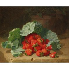 Old Masters, British & European Paintings - 04 Mar 2020 LOT 364 Still life with strawberries and a cabbage leaf by Eloise Harriet Stannard Estimate: - Norwich School, Cabbage Leaves, European Paintings, Global Art, Old Master, Art Market, Strawberries, Still Life, Old Things