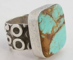 Native American Navajo, Turquoise & Sterling silver large ring, ornate band