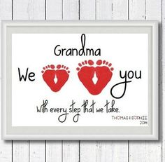 Grandparents Day Craft A 60th Birthday Gift for Mom: Personalized Grandma We Love You With Every Step We Take Footprint Art Print by Perfect Little Prints @ Etsy