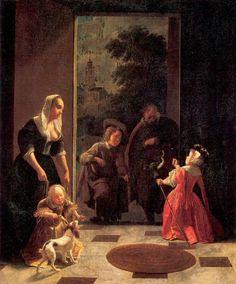 Jacob Lukas Ochtervelt (1634 - 1682) Itinerant Musicians 1660-65 Gem?ldegalerie, Berlin.