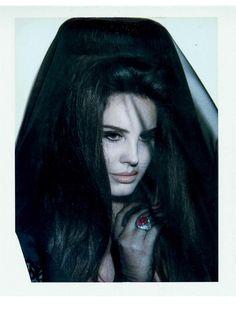 Lana Del Rey in a vintage black veil photographed by Steven Klein for V magazine, Fall 2015.