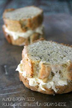 Almond Poppy Seed Pound Cake with Lemon Cream Cheese   White Lights on Wednesday  #passthecookbook