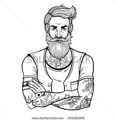 Vector Black and White Tattoo Bearded Man Illustration Tattoo Coloring Book, Colouring Pages, Coloring Books, Half Sleeve Tattoo Stencils, Sleeve Tattoos, Bearded Tattooed Men, Bearded Men, Barber Logo, Girl Drawing Sketches