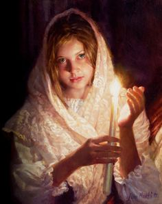 Portrait artist Jean Monti paints a painting with oil paint on linen that captures the warmth of candlelight as a young girl holds a candle.