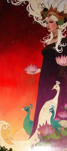 Sylvia Ji, such a beautiful artist. Her work is phenomenal. Such bright yet dark colors. It add so much feeling to the painting and draws attention to the eye.