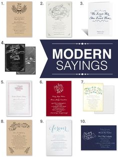 "the best wedding invitations that incorporate modern sayings! this is such a great option when you don't have a specific ""theme"" for your wedding."