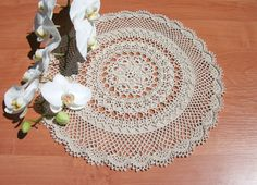 Lace crochet doily 15 inches Beige doily Round lace doily Big crochet doily Table décor Design by Patricia Kristoffersen Crochet centrepiece - pinned by pin4etsy.com