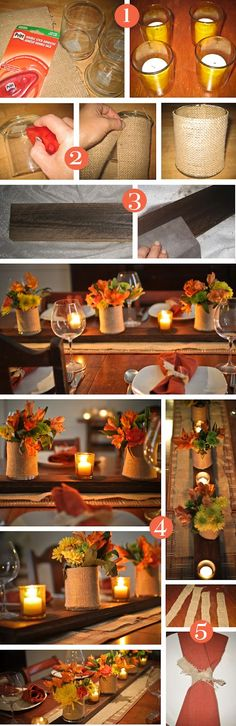 DIY Fall Table Decor candles autumn fall diy crafts diy ideas home ideas autumn crafts autumn leaves fall crafts autumn decor centerpieces fall decor autumn centerpiece Fun Diy Crafts, Fall Crafts, Decor Crafts, Thanksgiving Crafts, Thanksgiving Decorations, Table Decorations, Thanksgiving Table, Autumn Decorations, Thanksgiving Appetizers