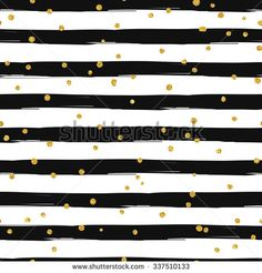 Gold glittering confetti seamless pattern on stripe background - stock vector