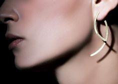 Pendientes largos oro, diseño de joyería, joyería Handcrafted, envío gratis,