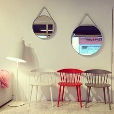 Chairs J104 by HAY (5 colors available) Strap Mirror by HAY ( 50/70 cm) Floor Lamp Caravaggio by LIGHTYEARS