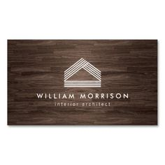 Modern Abstract Home Logo on Dark Woodgrain Double-Sided Standard Business Cards (Pack Of 100)