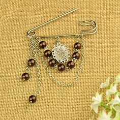 Fashion Tibetan Style Brooches, with Glass Pearl Beads, Resin Cabochons, Iron Chains and Iron Kilt Pins, CoconutBrown, 85mm