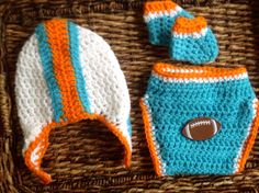 Handmade Crochet Miami Dolphins Baby Gift Set. Helmet hat, diaper cover and booties.