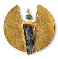 Wilhelm Buchert -Germany  Brooch- Gold (900), opals  diamond  Broche or 900, opales, diamant