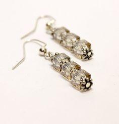Three Square Bead Earrings. Smokey Grey Bead Earrings. Grey Quartz Bead Jewelry. #ladiesearrings #fidoandfifi