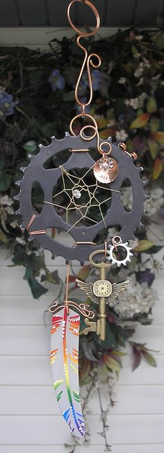 Steampunk Rainbow Dreamcatcher Stained Glass by DragonflyDreams1, $64.99