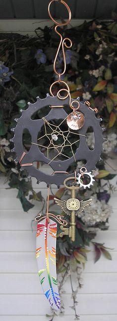 Steampunk Rainbow Dreamcatcher Stained Glass Metal Industrial Art Gear Wall Wings Key ooak
