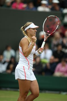 Angelique Kerber rejoicing with her VCORE 100S racquet at 2012 Wimbledon