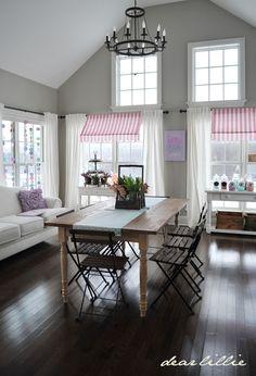 (Dear Lillie Blog) Gray walls, white ceiling & trim, dark wood floors.
