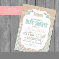 shabby chic girl baby shower invitations, baby girl shower, vintage, burlap, flowers, lace, frame, girl shower, digital, coral, turquoise