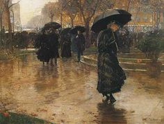 rainstorm, union square, 1890  by childe hassam