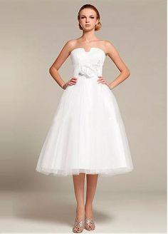 Stunning Tulle & Satin A-line Strapless Empire Waist Tea Length Wedding Dress
